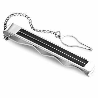 Pince à cravate en acier à bandes noires et chainette