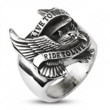 Chevalière vintage pour homme en acier style biker