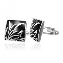 Boutons de manchette acier carré noir à silhouette herbes