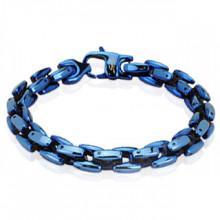 Bracelet homme acier bleu à mailles carrées