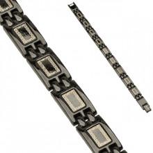 Bracelet homme en acier à plaques noir laqué avec motif labyrinthe