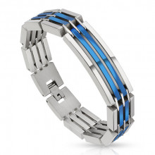 Bracelet homme en acier à segments argentés et bleus