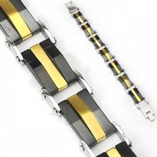 Bracelet homme en acier avec maillons de bandes noires et dor�es