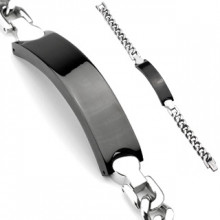 Bracelet homme en acier style gourmette à plaque noire