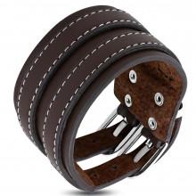 Bracelet homme en cuir marron double ceinture avec surpiqûre