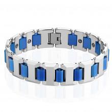 """Bracelet homme magnétique en tungstène à maillons en """"T"""" et jonctions bleues"""