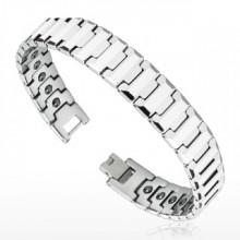 """Bracelet homme magnétique en tungstène à maillons en """"Y"""" facettés"""
