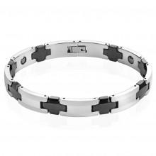 """Bracelet homme magnétique en tungstène noir et argenté à maillons en """"H"""" et croix"""