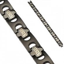 Bracelet homme noir en acier avec jonctions en croix à frise labyrinthe