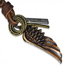 Collier avec cordon de cuir, anneaux, aile d'ange, croix et plaque