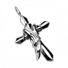 Pendentif homme acier croix et aile d'ange