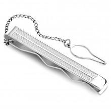 Pince à cravate en acier à bandes pointillées et chainette
