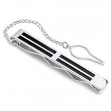 Pince à cravate en acier à lignes noires et chainette