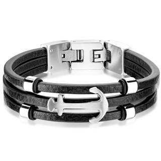 Triple bracelet cuir noir homme à ancre marine inox