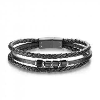 Triple bracelet homme cuir à cylindres d'acier